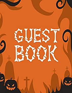 Guest Book: Halloween Party Guestbook Supply Essential,8.5 x 11 Sized, 100 Pages   Ideal for Halloween Costume Party