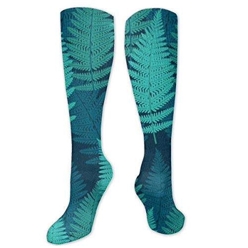 Jessicaie Shop Kreativer blaugrüner Farn hinterlässt Socken für Damen- und Herrensocken