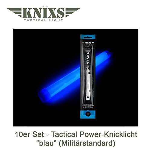 "10er Set - Power-Knicklicht/Leuchtstab Tactical Light im Militär-Standard - blau leuchtend (6"" / 15cm) - einzeln verpackt - mindestens 12 Stunden Leuchtdauer"