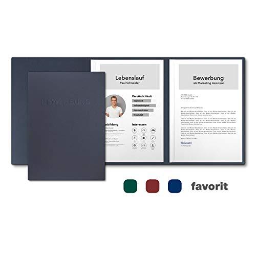 10 Stück 3-teilige Bewerbungsmappen favorit 'Sea Blue' mit 2 Klemmschienen - Premium-Karton mit eindrucksvoller Relief-Prägung BEWERBUNG - Produkt-Design von Mario Lemani