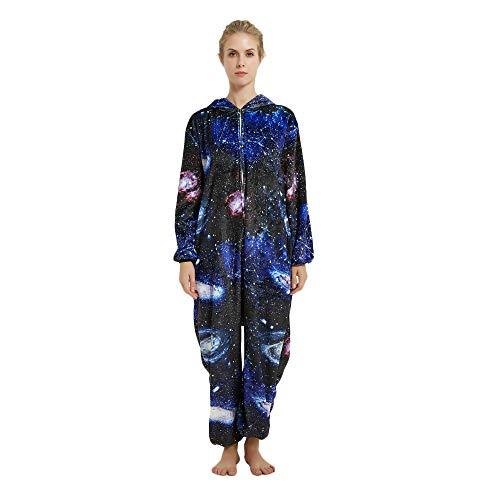 Kreative 3D Einhorn Pyjama Nachtwäsche Cosplay Kostüm Unicorn Schlafanzüge Für Erwachsene (M, Blau)