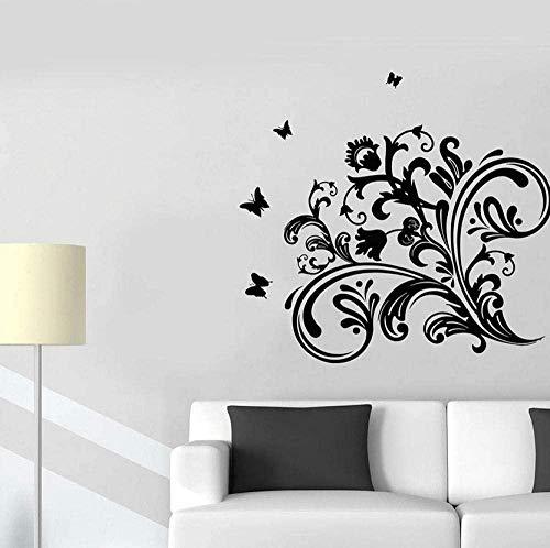 Pegatinas de pared para el hogar, dormitorio, salón, flores, mariposas, vinilo, cristal, elegante, 30 x 32 cm