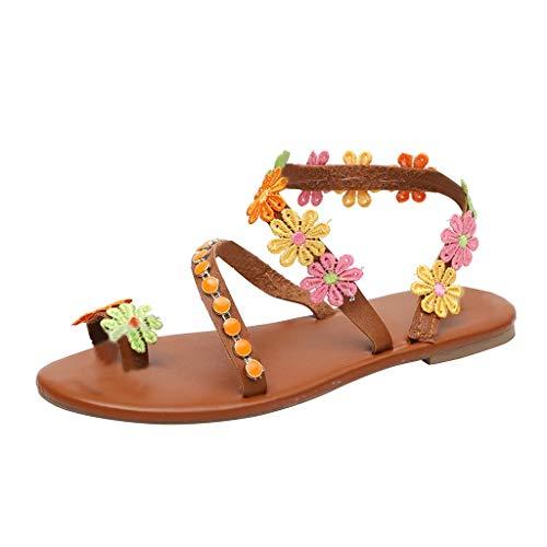 iYmitz Outdoorschuhe mit Blumen Mode Frauen Zehenblume Flache Unterseite Schuhe Sommer Sandalen Offene Zehe Rom Sandalen für Damen (EU-38, Braun)