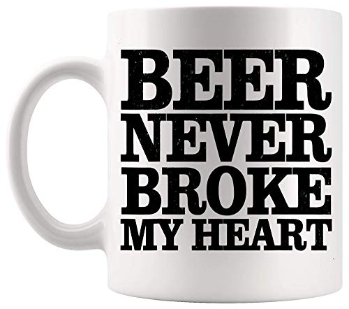 Taza divertida taza para beber cerveza retro vintage divertida para hombre nunca me rompió el corazón cerveza para cumpleaños tazas de café de 11 oz