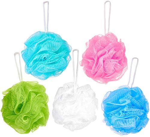 BRUBAKER Cosmetics - Fleur de bain & douche - Lot de 5 - Éponge exfoliante - Qualité supérieure - Nylon - Couleurs assorties