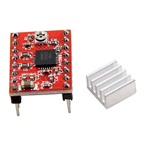 A4988 Breakout Shield Board Controlador de módulo de Control de Controlador de Motor Paso a Paso con disipador de Calor Reprap Piezas de Impresora 3D para Arduino (Color: Rojo)