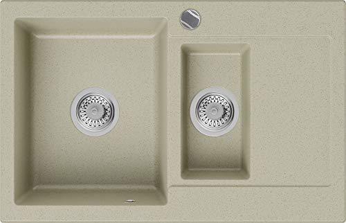 Granitspüle Beige 78 x 50 cm, Spülbecken + Siphon Automatisch, Küchenspüle ab 60er Unterschrank in 5 Farben mit Siphon und Antibakterielle Varianten, Einbauspüle von Primagran
