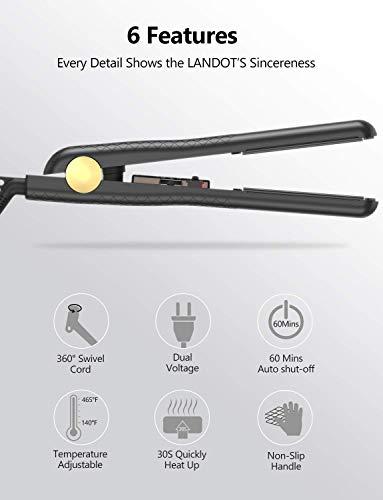 LANDOT Professional Hair Straightener Ceramic Tourmaline Ionic Flat Iron Adjustable Temp 140F-465°F for All Hair Type Anti-Static 1 inch Dual Voltage straightening Iron Travel Size