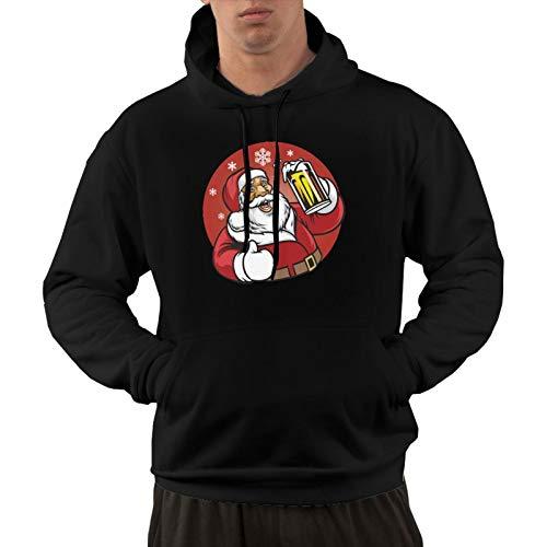 Santa Claus Enjoy A Glass of Beer Men's Long Sleeve Hoodies Pullover Hooded Sweatshirt with Pockets XXL Black