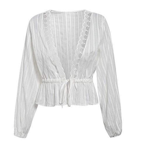 Nobrand Damen Bluse mit tiefem V-Ausschnitt, Vintage-Stil, für Frühling und Sommer, schick Gr. XXL, weiß