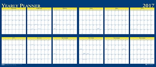 """House of Doolittle 2017 Laminated Wipe Off Wall Calendar, Reversible, 60 x 26"""" (HOD3974-17)"""