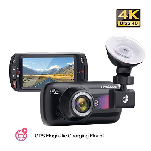 Dash Cam, UltraDash Real 4K UHD@30fps, GPS Magnetic Charging Mount, 16M HDR High-end Night Image Sensor, 8 Layers Glass F1.8 140 Degree Wide Angle Lens, G-Sensor, 2.7 Inch LCD, Super Capacitor
