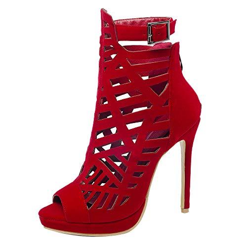 Kaizi Karzi Damen Mode High Heel Sommer Sandalen Peep Toe Gladiator Romisch Sandalen Riemen Red Gr 46 Asiatisch