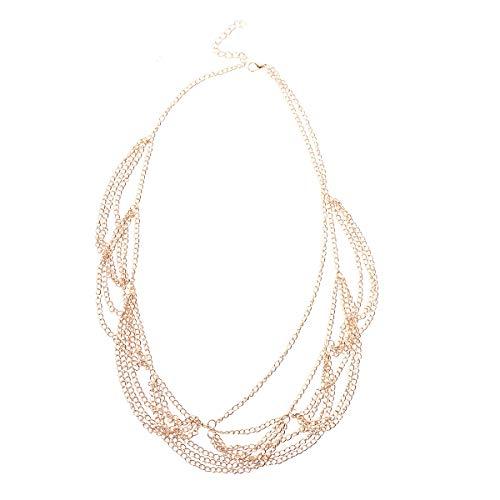 Lurrose Vergelaagde haarketting hoofdband golven kwast hoofdtooi voor vrouwen meisjes (goud)