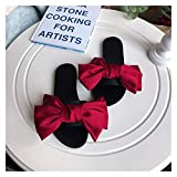 `Star Empty Pantuflas de Mujer Satin Big Bow One-Word Drag Ladies Series Fin Thin Full Full Suave Bott Fund Sandals Y Slippers Open Toe Drag (Color : 07, Size : 37)