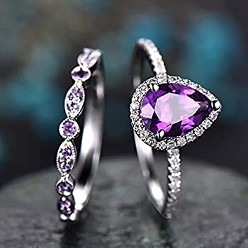 925 Sterling Silver Shining Amethyst Ring Tear Drop Shape 3Ct Cubic Zirconia Promise Rings Set CZ Teardrop Halo Ring Eternity Engagement Wedding Band Ring Sets for Women  US Code 6-10   7