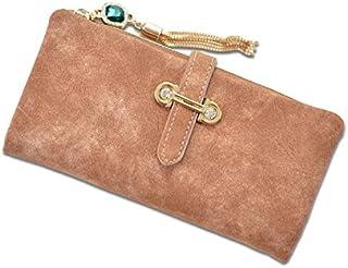 Women's Elegant Style Long Zipper Wallet Clutch Purse with a Detachable Cards Holder