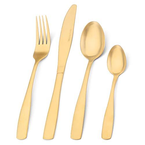 Besteckset, Bettlife 16-teiliges Geschirrset aus Edelstahl, Besteckset mit mattem Goldmesser und Gabel, Service für 4 Personen, spülmaschinenfest, leicht zu reinigen und zu halten