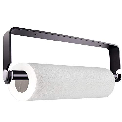TUPARKA Küchenrollenhalter Ohne Bohren, Küchenrollenhalter Wandmontage Papierrollenhalter Aufbewahrung Organisator, Schwarz