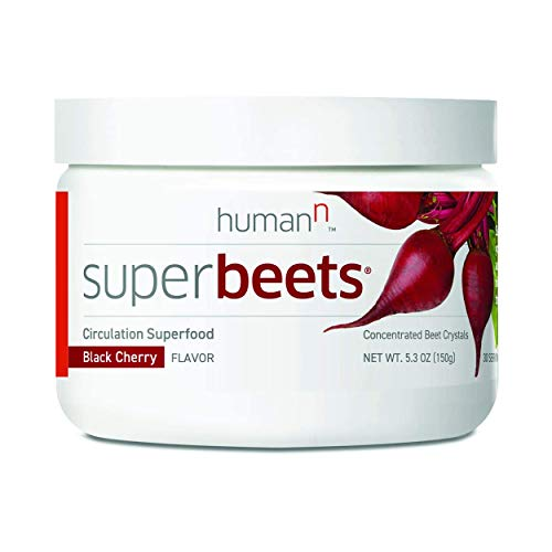 HumanN SuperBeets - Circulation Superfood, Concentrated Beet Crystals, Nitric Oxide Boosting Supplement, Vitamin C, Beets Grown in USA, Black Cherry Flavor, 5.3 ounces