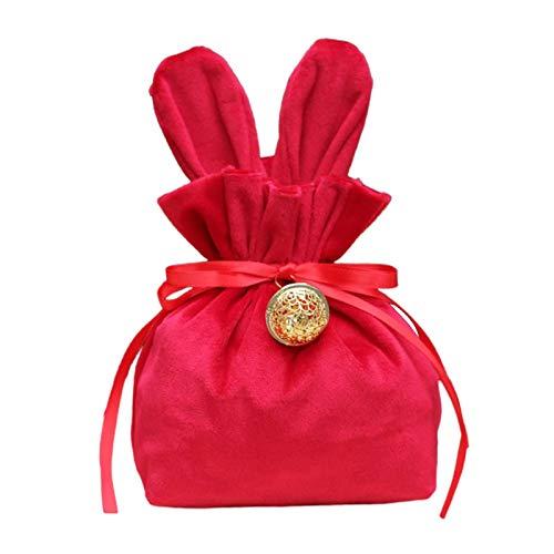 Ishine Bunny Candy Bags - Sacchetti regalo con orecchie di Pasqua in tessuto di velluto per uova, per feste, matrimoni, compleanni