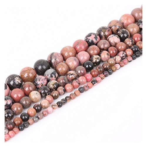 JINSUO NWXZU 4 6 8 10mm Natural Stone Beads Matte Lava Tiger Eye Red Black Loose Stone Beads For Jewelry Making DIY Bracelet Necklace (Color : Black Red Stone, Size : 8mm/48Pcs)