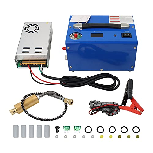 TOPA SPORT 4500psi/30mpa/300bar 12v PCP Air Compressor Oilfree Micro Inflator Electronic Portable Home Use for Hunt Air Gun Paintball Tank Scuba Breathing Diving, with Repair Kit