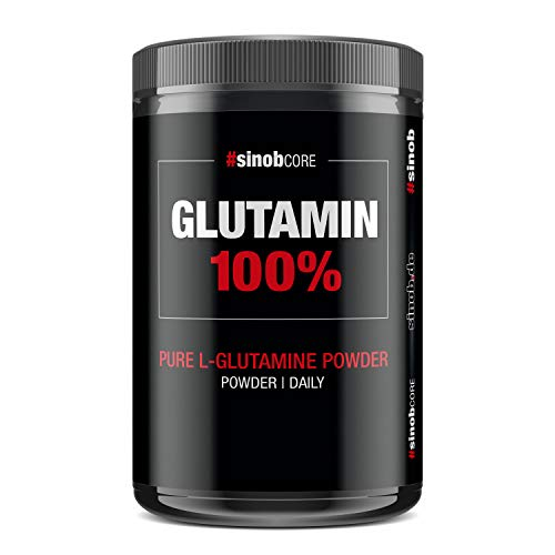 sinob Glutamin 100% - Pures L Glutamin Pulver Hochdosiert 1 x 500 g. Geschmacksneutral in freier Form, Rein und ohne Zusätze. Vegan, Glutenfrei & Laktosefrei