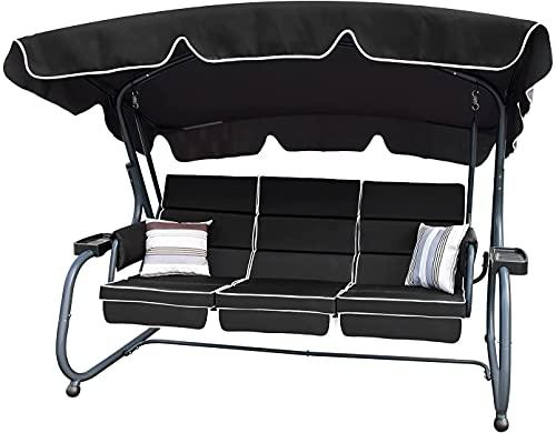 RANSENERS® Hollywoodschaukel Schaukelliege 3-Sitzer mit Verstellbarer Sonnendach, bis 320kg belastbar, Schwarz
