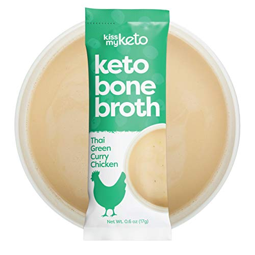 Kiss My Keto Bone Broth Powder Travel Packets — Collagen Protein (9g) + MCT Oil (4g), 18 Amino Acids | Low Carb Thai Green Curry Chicken (15 Pack), Instant Bone Broth Soup — Single Servings
