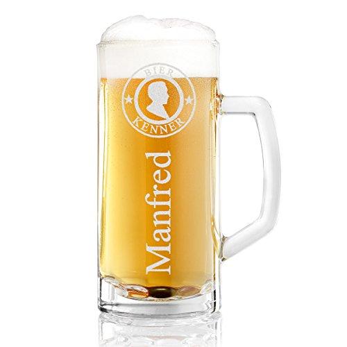 polar-effekt Bierkrug Personalisiert mit Gravur eines Namens – Bierseidel Geschenk-Idee zum Geburtstag - Motiv Bier-Kenner 0,5l