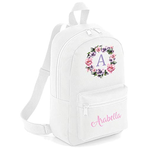Flower Circle Custom Initial with Name Pocket Childrens Lunch Girls School Backpack Bag Girls Rose Cute Rucksack Bags Pretty Toddler Gym Sack Floral (White, One Size)