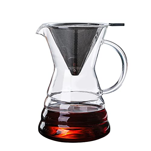 Joycabin Pour Over Kaffeebereiter,Kaffeekanne mit Kaffeefilter,Glaskaraffe Coffee Maker,Kaffeebereiter Transparent,Kaffeemaschine Karaffe,Filterkaffee Pressfilterkanne für Pour Over Coffee Maker