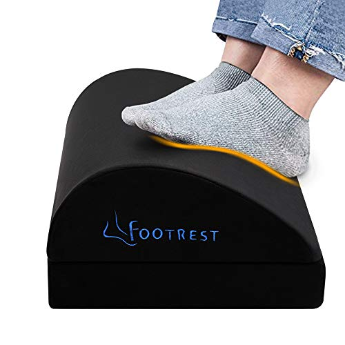 Adjustable Foot Rest Under Desk, Ergonomic Footrest Cushion with 2 Height for More Comfort & Extra Leg Support, Soft & Firm Foam Footrest Foot Stool Rocker with Magic Tape for Home, Office, Airplane