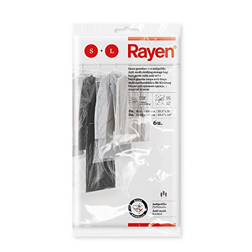 Rayen Funda Armario antipolilla. Pack 6 Bolsas Transparentes