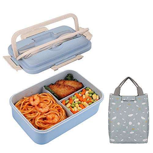 HALOVIE Lunch Box avec Sac Isotherme Repas, Boîte Bento Box 3 Compartiments avec Couvert, Boîte Repas Anti-Fuite Hermétique, pour Enfant Adulte, Passe aux Micro-Ondes et Lave-Vaisselle, 1400ml, Bleu
