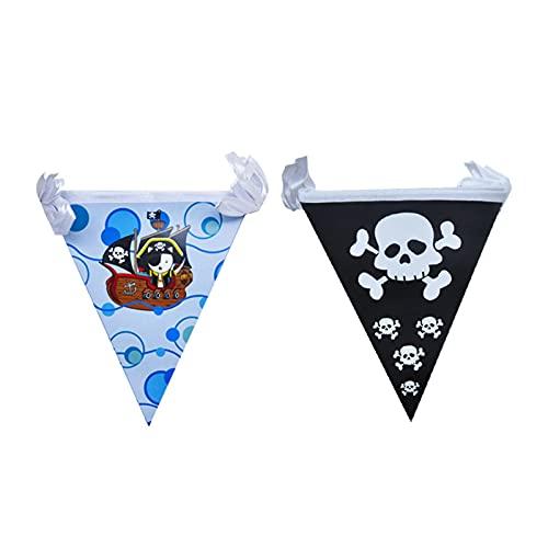 Jjwlkeji Vajilla De Fiesta PIRÁTICO Tema Partido Vajilla Niños Suministros de cumpleaños Servilleta Placa Taza Banner Balloon Corsair Cake Decoración (Color : Banner)