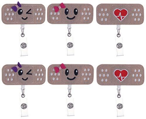 MISAZ 6 Pieces Badges Holder Alligator Clip Smiling Retractable Nurse Badge Reel Holder Badge Bandage Felt Name Card for Volunteer/Students/Teachers/Doctors,Great Nurse Gifts
