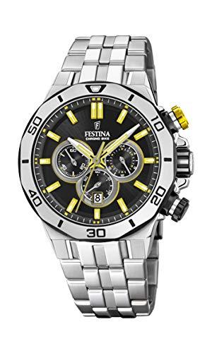 Festina Unisex Erwachsene Chronograph Quarz Uhr mit Edelstahl Armband F20448/8