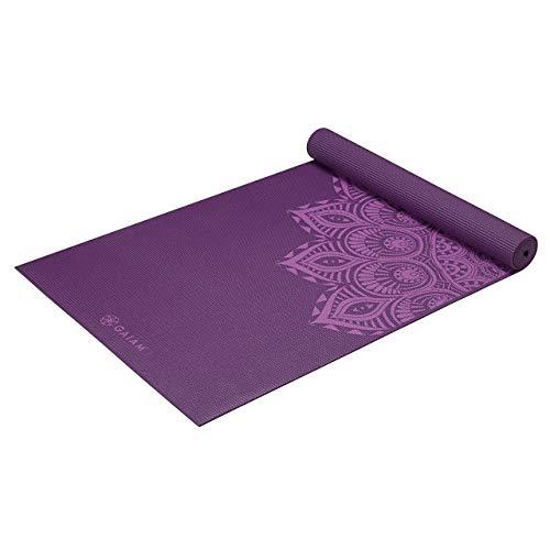 Gaiam Yoga Mat Premium Print Extra Thick Non Slip Exercise amp Fitness Mat for All Types of Yoga Pilates amp Floor Workouts Purple Mandala 6mm