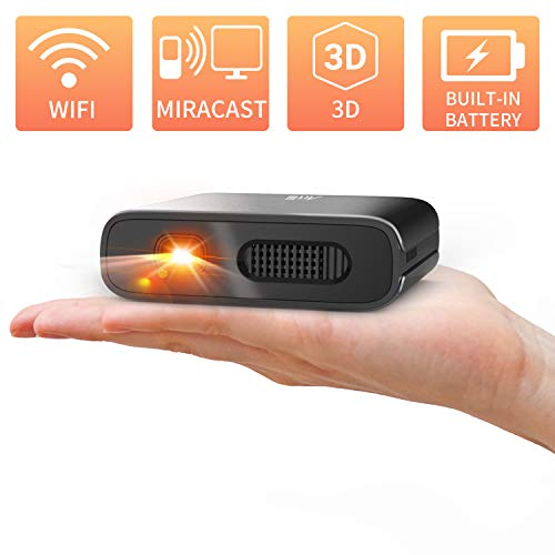 Mini Projector - Artlii Mana Wifi-Videoprojector Draagbare DLP Projector Ingebouwde Batterij Van 5200 mAh, Ondersteuning 1080P En 3D, Ondersteuning Airplay Miracast Voor Phone/Laptop/iPhone/TV-Stick