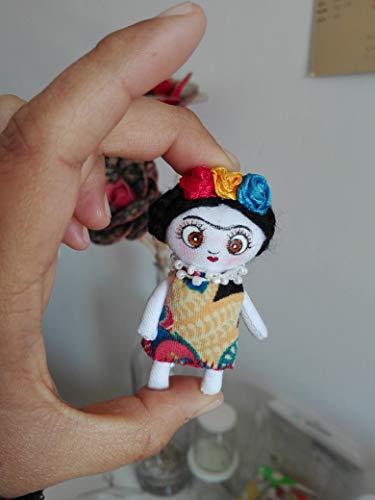 Muneca de Trapo - Boninga Dolls: Frida Kahlo \miniatura\ (6,5cm)