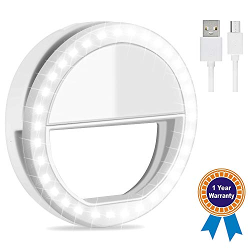 Emwel Rechargeable Selfie Ring Light, 3-Level Adjustable Brightness Selfie Light with 36 Highlight LED, Supplementary Lighting Night Selfie Enhancing for Smartphones