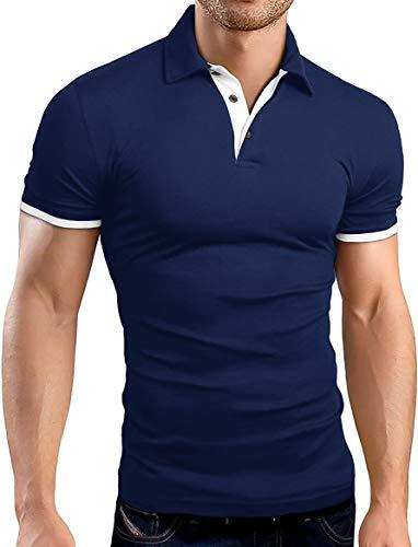 KUYIGO Men's Short Sleeve Polo Shirts Casual Slim Fit Basic Designed Cotton Shirts Large Navy