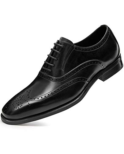 FRASOICUS Men's Dress Shoes with Genuine Leather in Classic Brogue Elastic Band Oxford Formal Shoes for Men9.5 Black