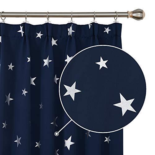 Deconovo Fenstervorhang Thermo Vorhänge mit Sterne Kräuselband Verdunkelungsvorhang Kinderzimmer, 229x117 cm(HöhexBreite), Dunkelblau, 2er Set