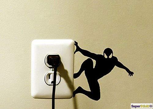 SUPERSTICKI Wandtattoo Steckdose Lichtschalter Spiderman Comic Superheld Deko Hobby Dekoration Home Basteln aus Hochleistungsfolie Aufkleber Autoaufkleber Tuningaufkleber Hochleistungsfo