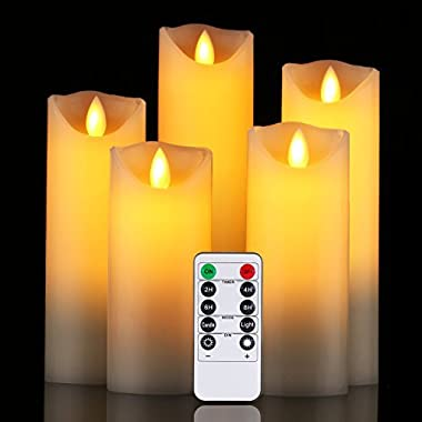 Da by Flameless Candle 5  6  7  8  9 Set of 5 Realistic Dancing LED Flickering Wick for Parties,Home,Public Elegant Events, Battery Powered, 10-Key Remote Control , Ivory Color