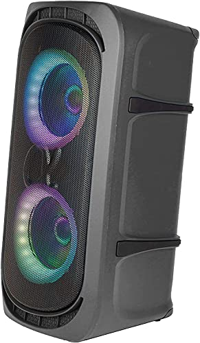 Alphasonik Reaktor One Portable Party Speaker Box High Power Alpha Bass Technology Wireless Bluetooth Mic and Guitar Inputs Phone Charger USB Player AUX App Control Long Lasting Battery up to 18 Hours