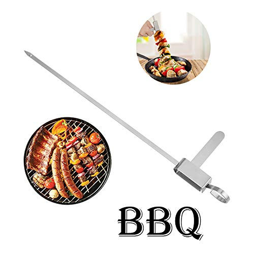 YSYDE 20PCS 13.7Inch Stainless Steel Barbecue Skewers, Reusable Metal BBQ Shish Kebab Sticks with Slider Convenient Food Preventation Picnic Safe Tools